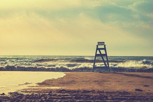 Sea, Waves, Sand, Beach, Ladder, Sky, Clouds, Dawn