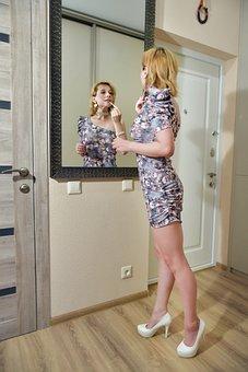 Woman, Mirror, Makeup, Lipstick, Smarten Up, Corridor