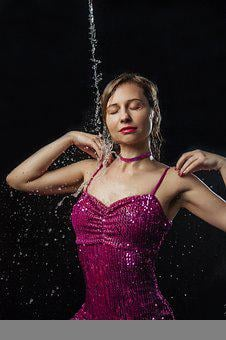 Woman, Model, Dress, Party, Water, Splash, Wet, Spray