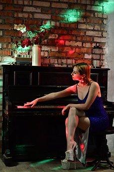 Woman, Piano, Music, Musical Instrument, Evening Dress