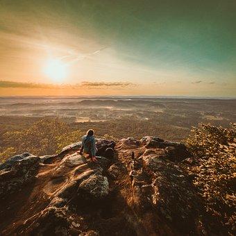 Man, Sunset, Mountain, Cliff, Twilight, Solitude, Peace