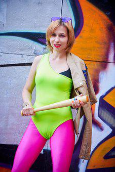 Woman, Model, Leggings, 80s, Outfit, Pose, Bright