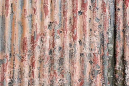 Paint, Painted, Galvanized Sheet, Rusty, Shabby, Grunge