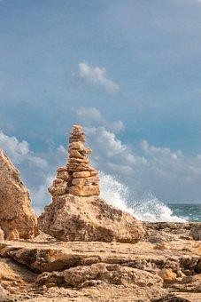 Beach, Rock Balancing, Shore, Seashore, Coast, Sea