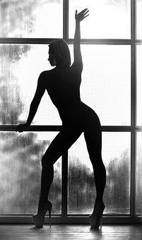 Woman, Model, Body, Silhouette, Figure, Circuit, Window