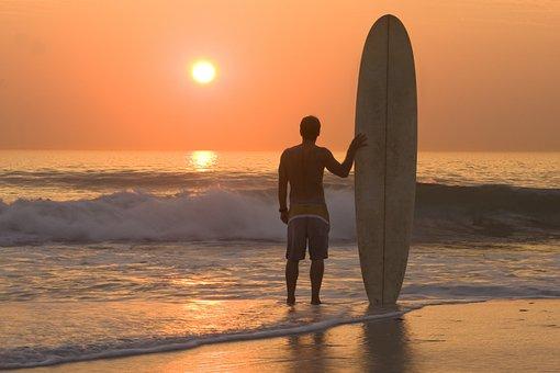 Sunset, Beach, Surfing, Surfer, Surf Board, Ocean