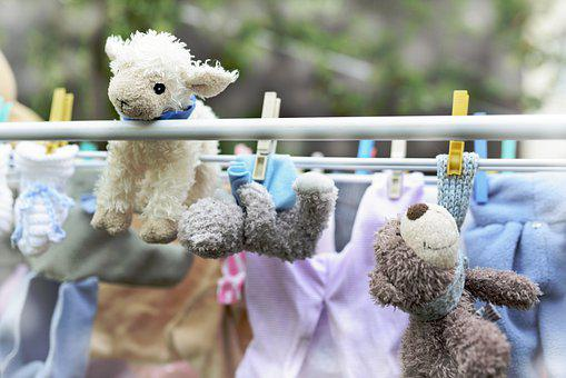 Clothes Line, Sheep, Teddy Bear, Stuffed Animal