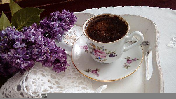 Coffee, Cup, Plate, Spoom, Tray, Flowers, Lilac