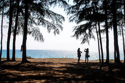 Beach, Ocean, Sea, Friends, Couple, Sand, Coast, Trees