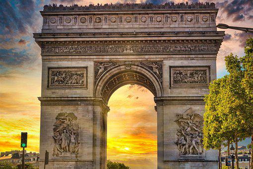Monument, Triumphal Arch, Sunset, City, Architecture