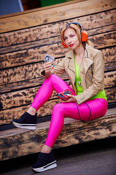 Woman, Model, Walkman, Headset, Headphones, Cassette