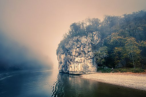 Mountain, Forest, Fog, River, Bank, Water, Danube Gorge