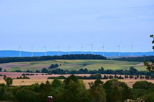 Windmills, Valley, Fields, Trees, Horizon, Wind Park