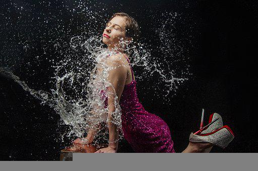 Woman, Model, Dress, Party, Water, Splash, Wet, Spray