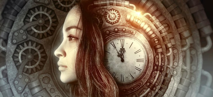 Fantasy, Portrait, Clock, Time, Woman, Female