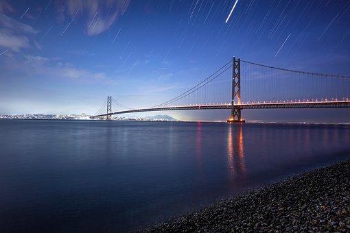 The Akashi-kaikyo Bridge, Bridge, Akashi Kaikyo, Water