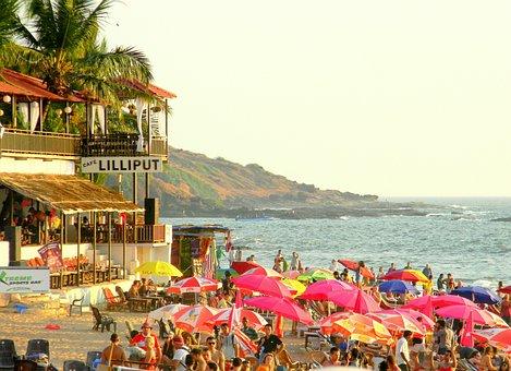 Goa, Vacation, Beach, Beach Goers, People, Crowd