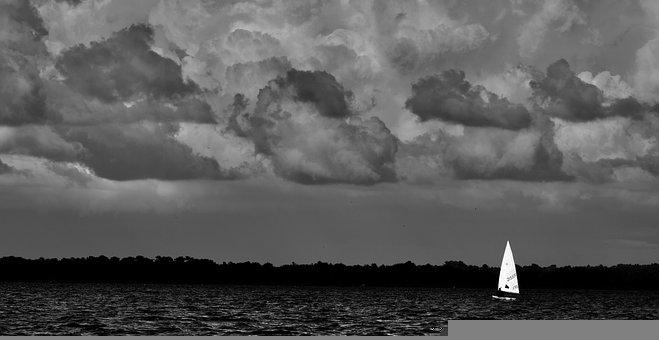 Sailing, Boat, Sail, Cloudscape, Gloomy, Overcast