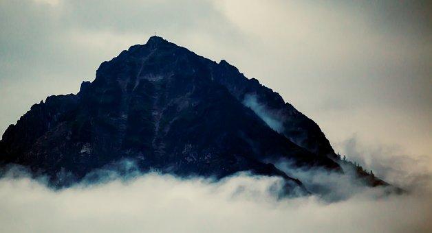 Summit, Peak, Mountain, Landscape, Fog, Clouds