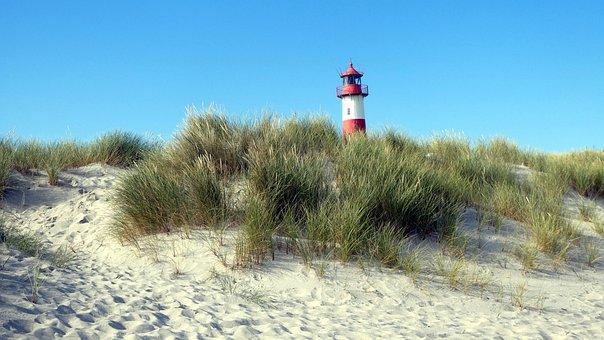Lighthouse, Dunes, Sand, Beach, Grass, Plants