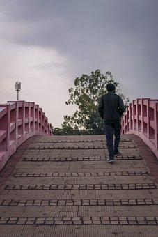 Walking, Bridge, Man Walking On The Bridge