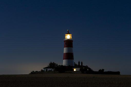 Lighthouse, Night, Tower, Happisburgh, Light, Beacon