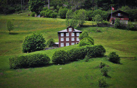 Old House, Building, Residential, Meadows, Green Field