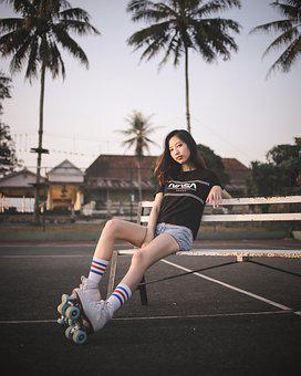 Girl, Model, Retro, Roller Skates, Lady, Woman, Female