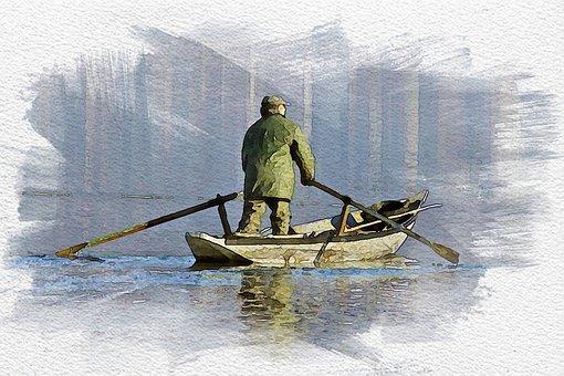 Boat, Lake, Man, Fisherman, Rowing Boat, Reflection