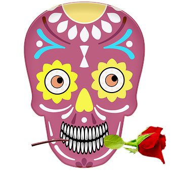 Day Of The Dead, Skull, Mexico, Colorful, Rose, Teeth