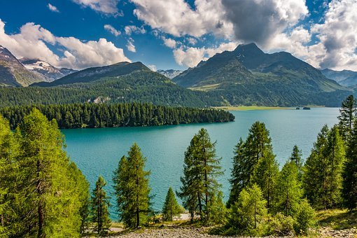 Lake, Mountains, Trees, Mountain Range, Forest, Woods