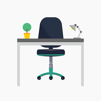 Desk, Office, Lamp, Table, Chair, Study, Work, Space