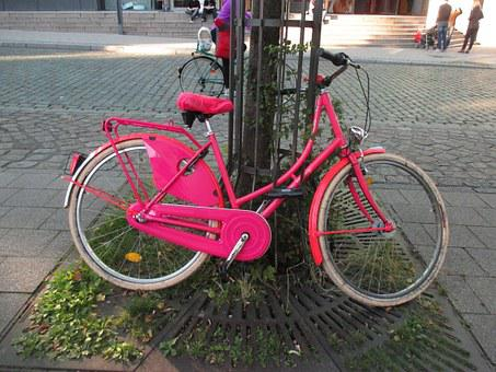Bike, Pink, Dutch, Cheerful, Women's Bicycle