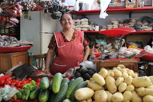 Market, Mexico, Indian, Chatina, Women, Chiles, Color