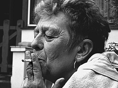 Old Man, Woman, Smoking, Cigarette, Face, Women