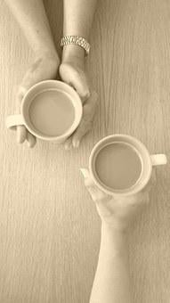 Coffee, Chat, Conversation, Mugs, Cups, Hands, Drinking