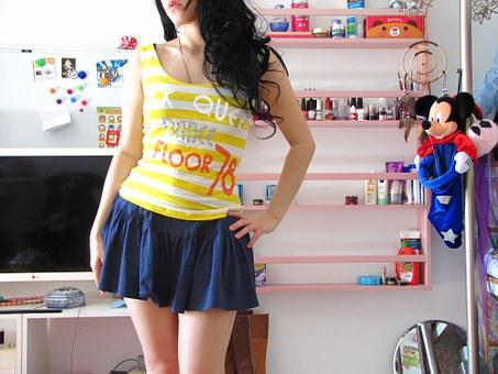 Cute, Girl, Skirt, Legs, Black Hair, Hair, Curly Hair