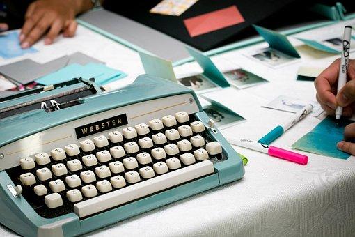 Typewriter, Retro, Webster, Keyboard, Entry Keys, Decor