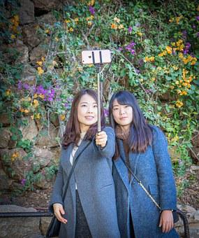 Selfie, Girls, Smiling, Flowers, Nature, Outdoor, Happy