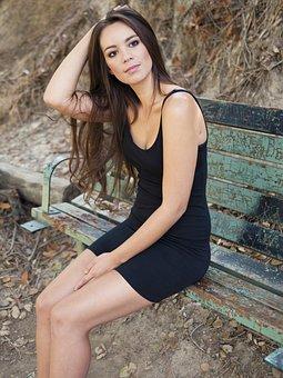 Girl, Woman, Beautiful, Black Tight Dress