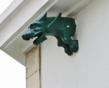 Chimera, Sculpture, Dragon, Head, Bronze, Decorative
