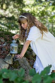 Person, Human, Girl, Blond, Lantern, Nature, Out