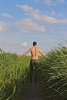 Man, Strong, Sporty, Upper Body, Force, Field