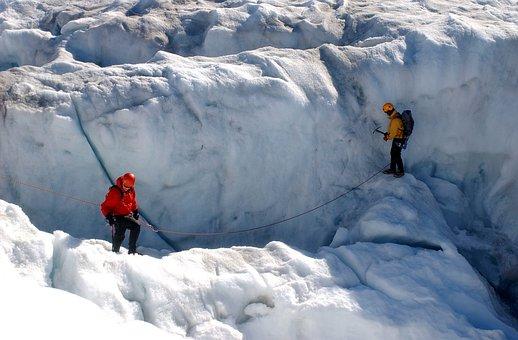 Greenland, Crevasse, Snow, Ice, Winter, Men, Climbing