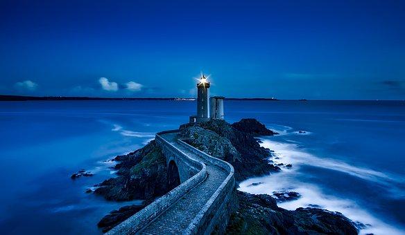 Plouzane, France, Lighthouse, Landmark, Sea, Ocean