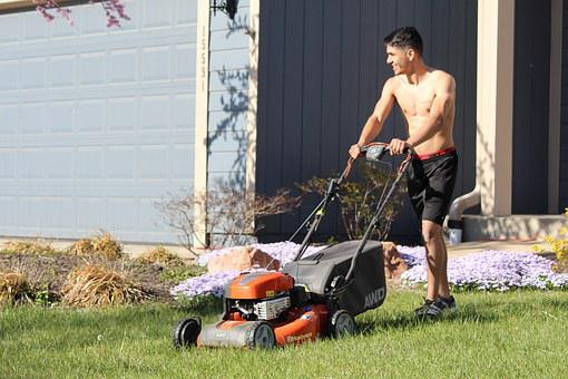 Lads, Mowing, Shirtless, Blond, Caucasian, Handsome
