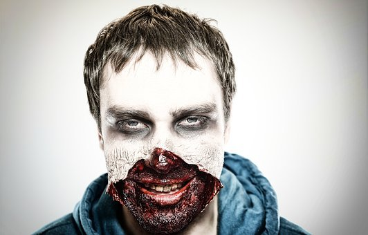 Zombie, Spooky, Horror, Make-up, Face, Shock, Men