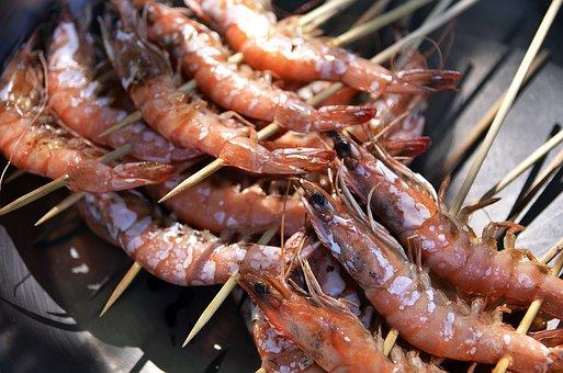 Skewers, Shrimps, Seafood, Skewered, Prawns, Cuisine