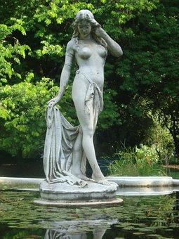 Statue, Source, Women, Sculpture, Park, Landscape