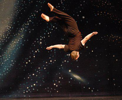 Gymnast, Man, Flying, Fly, Back Layout, Space